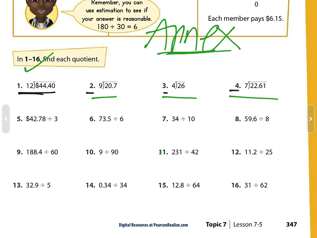 ShowMe - Dividing decimals by a 1-digit whole number