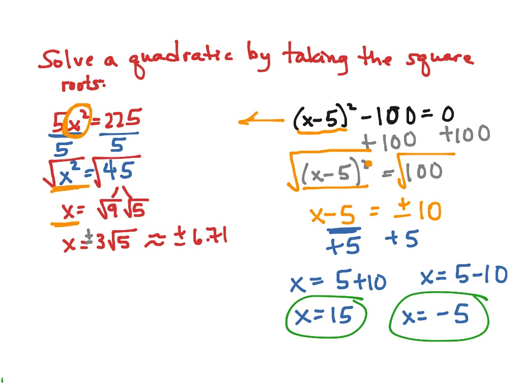 Solving Quadratics By Factoring And Square Roots