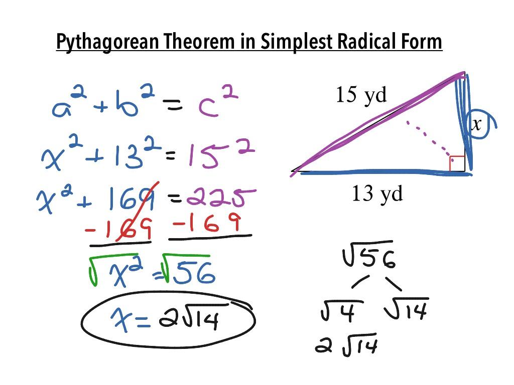 Pythagorean Theorem in Simplest Radical Form – Simplest Radical Form Worksheet