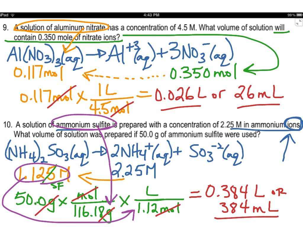 Answer key (video) for worksheet 5.1 (molarity) | Science ...