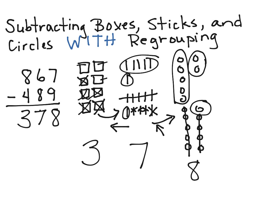 Subtracting Boxes, Sticks, And Circles With Regrouping