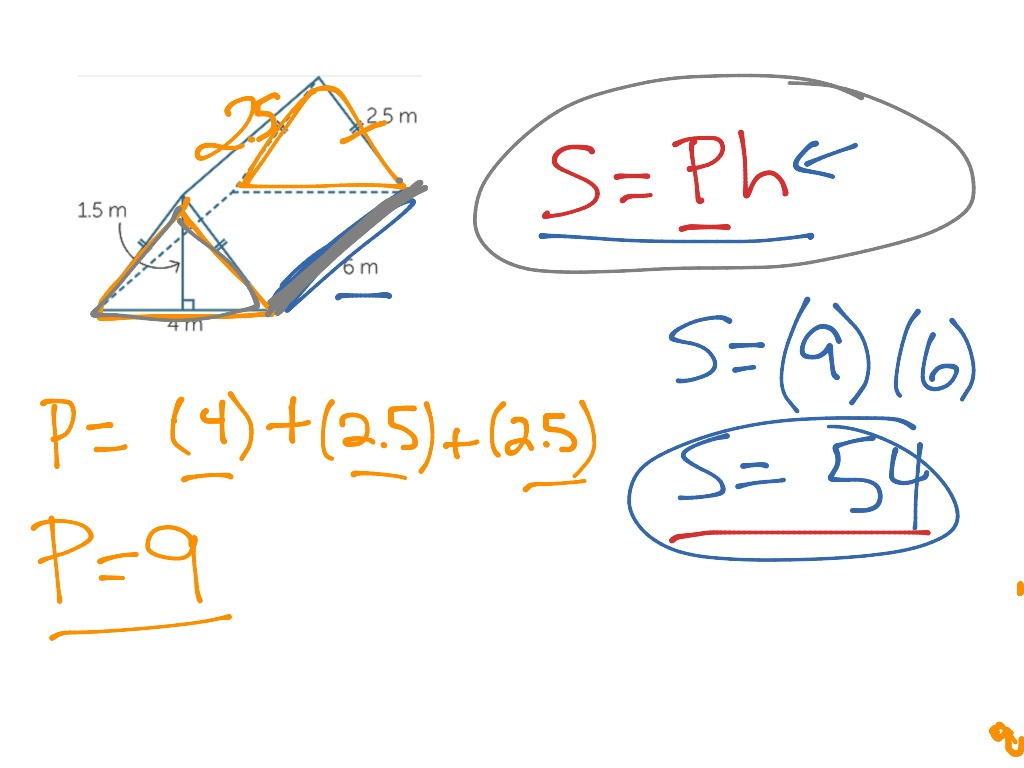 Lateral Surface Area Of A Triangular Prism  Math, Geometry, Surface Area,  Middle School Math, 8th Grade Math  Showme