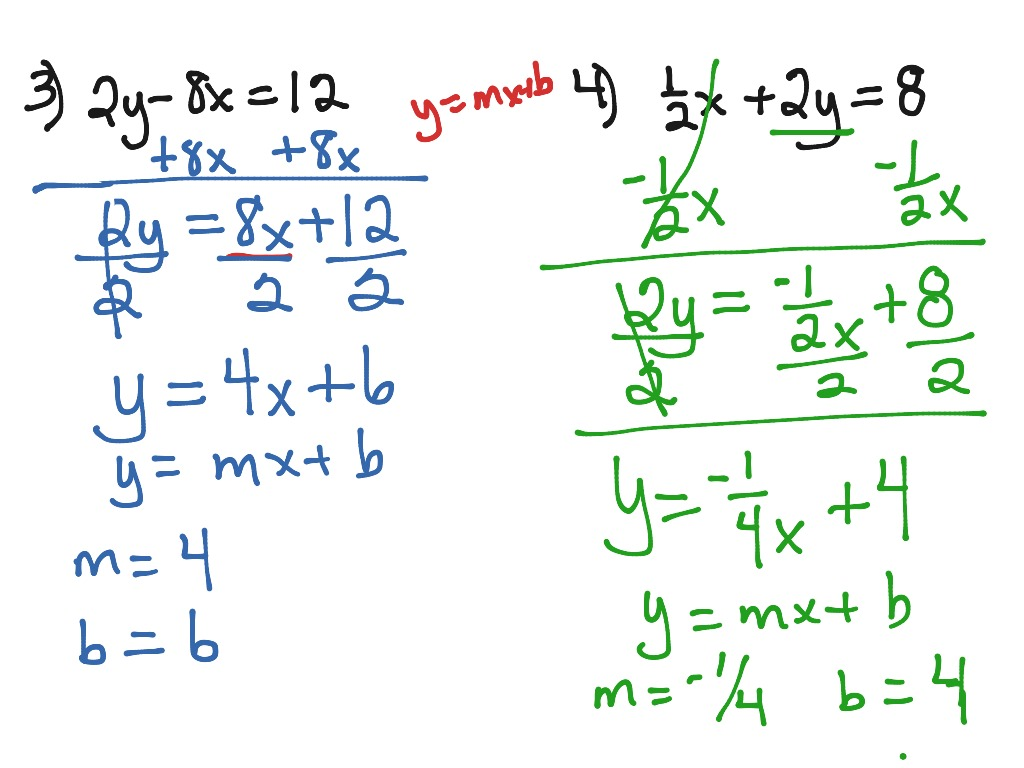 Solving An Equation For Y Y=mx+b